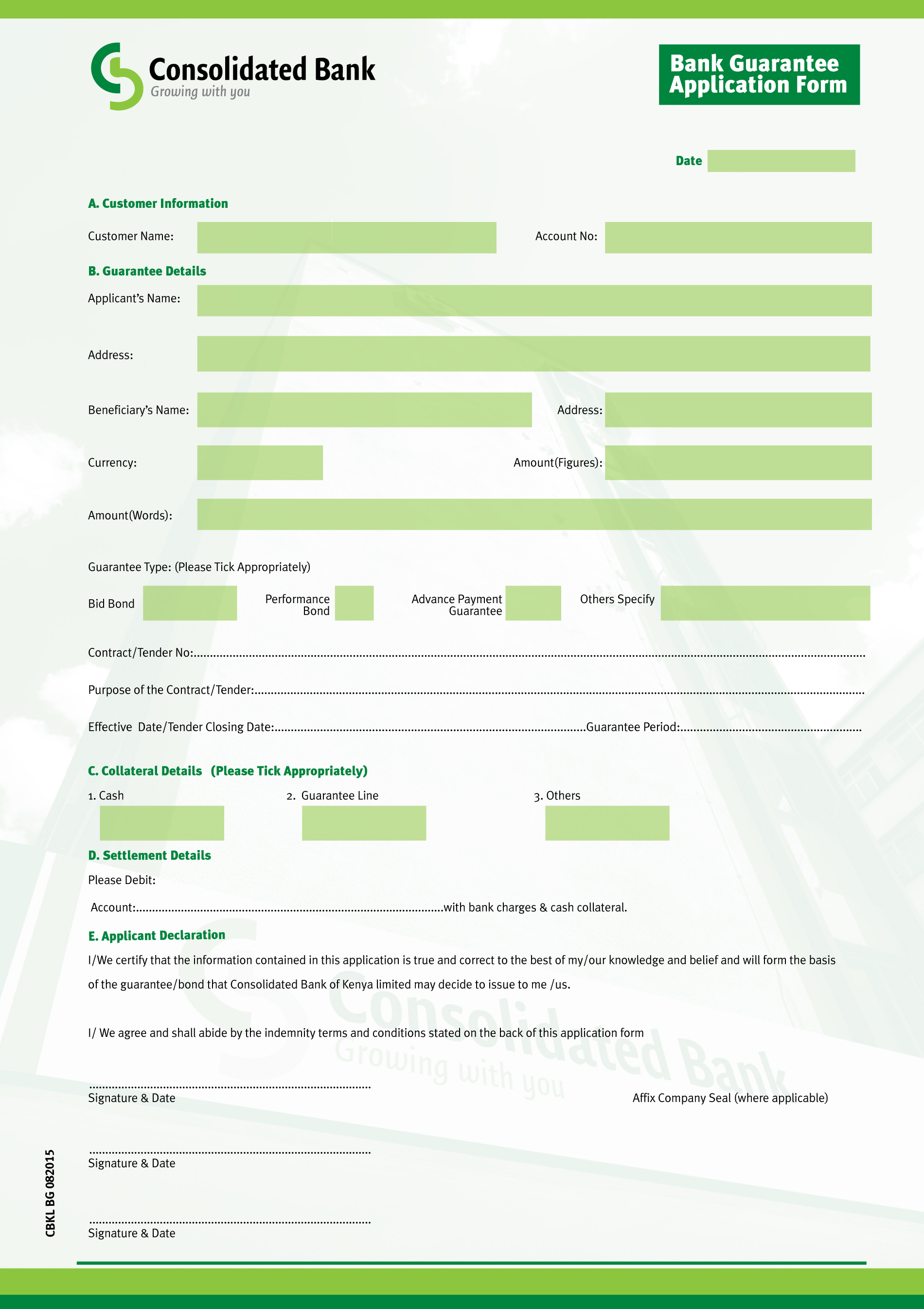 consolidated bank of we are better together bank guarantee application form pg 1